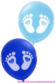 Thema Ballon Geboorte Voetjes blauw