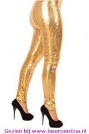 Legging Pailletten stretch vol goud