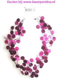 Halsketting Pailletten pink