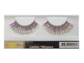 Wimpers lametta pink/groen/goud