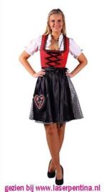 Dirndl 'Jana' rood-zwart