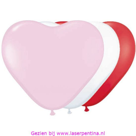 "Hartballon rood/wit/roze [6] 15"""