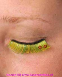 Wimpers groen-geel + bloemen