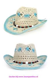 Cowboy Hoed crazy Summer blauw/wit