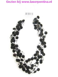 Halsketting Pailletten zwart