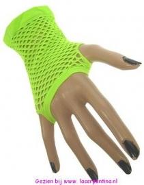 Nethandschoenen kort fluor groen