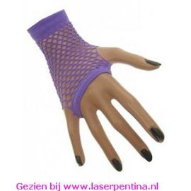 Nethandschoenen kort fluor paars