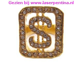 Ring goud + Strass $ teken