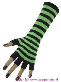 Vingerloze Handschoenen fluor pink/zwart gestreept