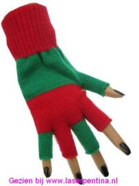 Vingerloze Handschoenen groen/rood