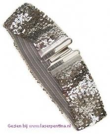 Riem pailletten zilver