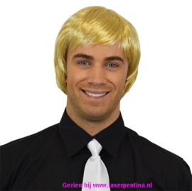 Heren Pruik steil blond