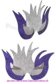Fantasie Bril Glitter zilver/paars
