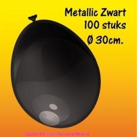 Effen Metallic Ballonnen  zwart