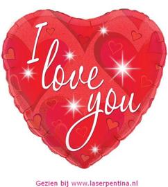 Folie Ballon Hartje rood  'I LOVE YOU'