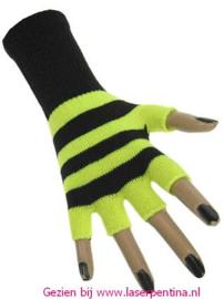 Vingerloze Handschoenen fluor geel/zwart gestreept