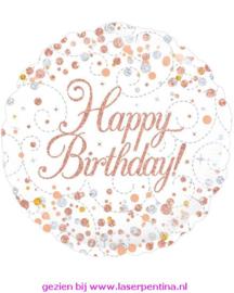 Folie Ballon wit/rose Happy Birthday