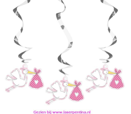 Hangdecoratie Spiral  'It's a Baby Girl'