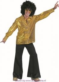 Disco Hemd Pailletten goud