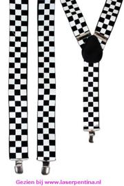 Bretel zwart/wit geblokt