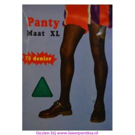 Panty effen ribgroen