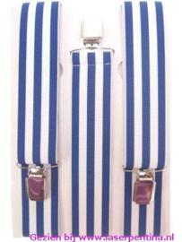 Bretel gestreept blauw/wit