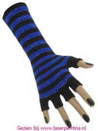 Vingerloze Handschoenen fluor groen/zwart gestreept