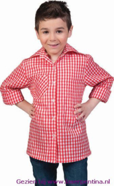 Overhemd geruit rood/wit Kind