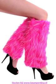 Beenwarmers pluche strepen fluor pink