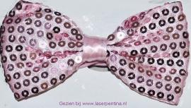 Vlinderstrik roze pailletten