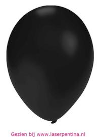 """Effen Ballon   5"""" metal. zwart"""