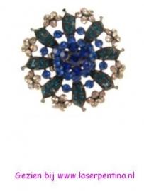 Ring Bloem jumbo Strass blauw