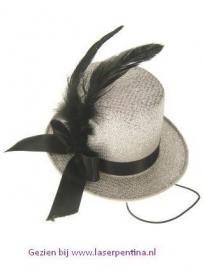 Midi hoge hoed glitter + deco zilver