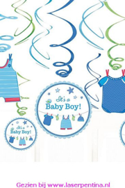Hangdecoration Swirl 'It's a Baby Boy'