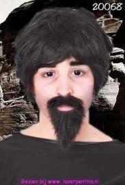 Snor + baard professor zwart