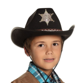 Cowboyhoed Sherrif zwart (kids)