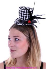 Mini hoedje zwart/wit