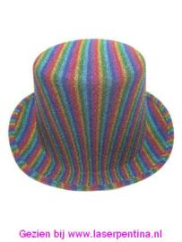 Hoge hoed glitter Regenboog