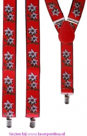 Bretel rood met Edelweissbloem