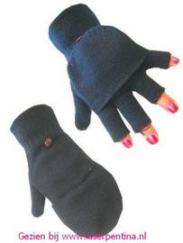 Vingerloze Handschoenen zwart +kapje