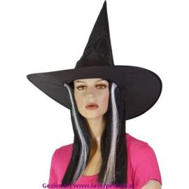 Heksenhoed zwart met Haar