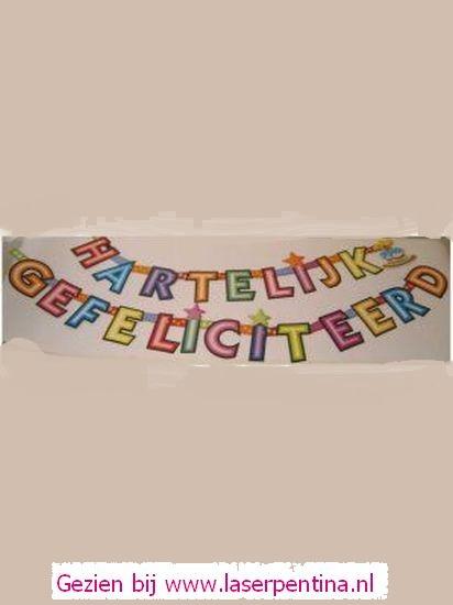 Letterslinger 'HARTELIJK GEFELICITEERD'