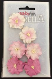 3866 025-Hobbyfun Florella bloemen- ca. 3.5cm-rose