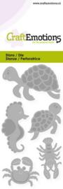 115633/0248-Craft Emotions Die-Schildkröte, Seepferdchen Card 5x10cm (02-19)