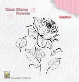 FLO017-Nellie's Choice Silhouette Clear Stamps Blumen Stiegen-69x85mm