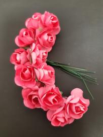 donker roze rozen - 12 bloemen
