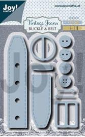 6002/1385 Joy crafts - Vintage Jeans Buckle & Belt