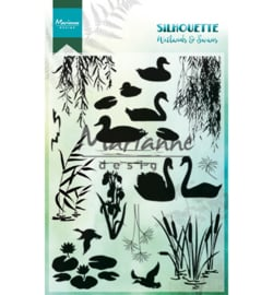 CS1017-Marianne Design clear stamps silhouette wetlands