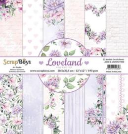 117072/0059-ScrapBoys Loveland new edition paperset 12 vl+cut out elements-DZ NE-LOLA-08- 190gr -30,5x30,5cm