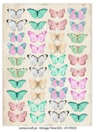 LP-VT023-Scrapbooking paper-Vintage time 23-butterflies
